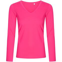 Vêtements Femme T-shirts manches longues X.o By Promodoro T-shirt manches longues col V grandes tailles Femmes fushia