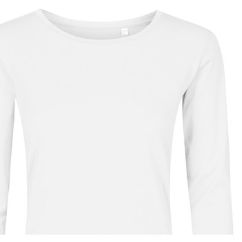 Vêtements Femme T-shirts manches longues X.o By Promodoro T-shirt manches longues col rond grandes tailles Femmes blanc