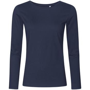 Vêtements Femme T-shirts manches longues X.o By Promodoro T-shirt manches longues col rond grandes tailles Femmes bleu marine français