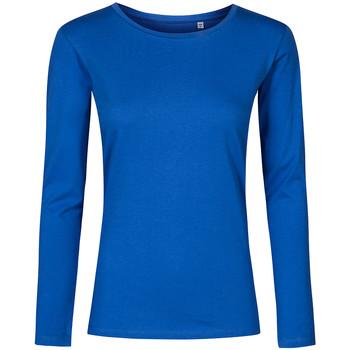 Vêtements Femme T-shirts manches longues X.o By Promodoro T-shirt manches longues col rond grandes tailles Femmes bleu azure