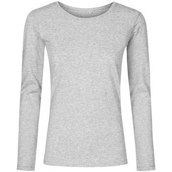Vêtements Femme T-shirts manches longues X.o By Promodoro T-shirt manches longues col rond grandes tailles Femmes gris chiné