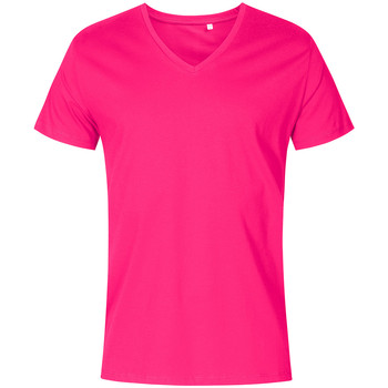 Vêtements Homme T-shirts manches courtes X.o By Promodoro T-shirt col V grandes tailles Hommes fushia