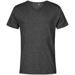 Vêtements Homme T-shirts manches courtes X.o By Promodoro T-shirt col V grandes tailles Hommes noir chiné