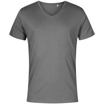 Vêtements Homme T-shirts manches courtes X.o By Promodoro T-shirt col V grandes tailles Hommes gris acier