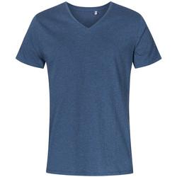 Vêtements Homme T-shirts manches courtes Promodoro T-shirt col V grandes tailles Hommes Bleu marine chiné