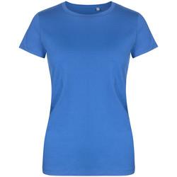 Vêtements Femme T-shirts manches courtes X.o By Promodoro T-shirt col rond grandes tailles Femmes bleu azure