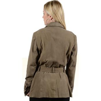 Vêtements Femme Blousons Giorgio Cuirs Veste classique en cuir chèvre velours ref_27778 Kaki Vert