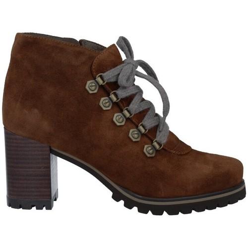 Chaussures Femme Boots Pedro Miralles 25840 Botines con Cordones de Mujer Marron