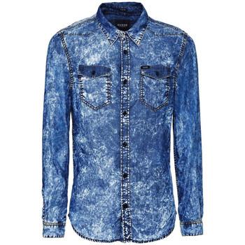 Vêtements Homme Chemises manches longues Guess Chemise Homme Denim Truckee Ls Shirt Bleu Bleu