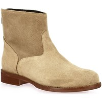 Chaussures Femme Bottines Pao Boots cuir velours Beige