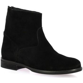 Chaussures Femme Bottines Pao Boots cuir velours Noir