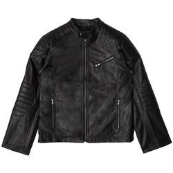 Vêtements Garçon Vestes en cuir / synthétiques Guess Blousons - Veste enfant Garçon L83L07 Leather Noir 38