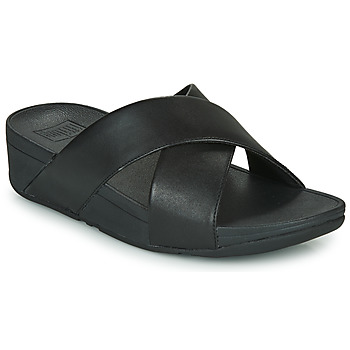 Chaussures Femme Mules FitFlop LULU CROSS SLIDE SANDALS - LEATHER Noir