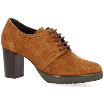 Chaussures Femme Derbies Pao Derby cuir velours Cognac