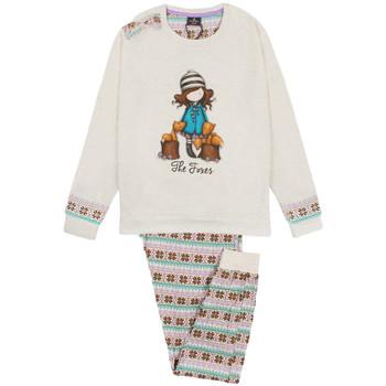 Vêtements Fille Pyjamas / Chemises de nuit Admas Pyjama manches longues pantalon Felpa The Foxes ivoire Santoro Ivoire