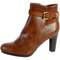 Chaussures Femme Bottines The Divine Factory Bottine Talon QL3815 Camel