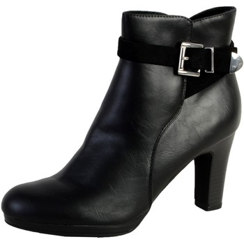 Chaussures Femme Bottines The Divine Factory Bottine Talon QL3815 Noir