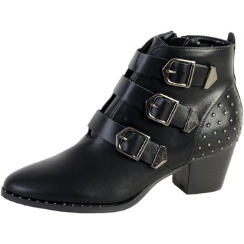 Chaussures Femme Bottines The Divine Factory Bottine Talon QL3823 Noir