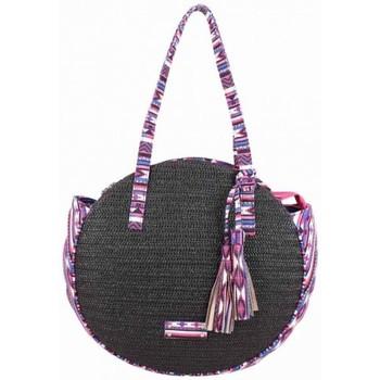 Sacs Femme Sacs porté épaule Fuchsia Sac épaule rond paille  Raffia Malone Noir Multicolor