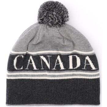 Accessoires textile Femme Bonnets Canada Goose Chapeau en laine grise avec pompon Gris