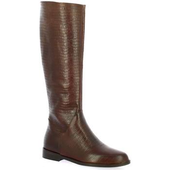 Chaussures Femme Bottes ville Pao Bottes cuir serpent Cognac