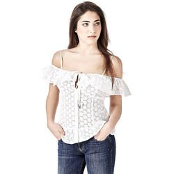 Vêtements Femme Tops / Blouses Guess Top Brodé Epaules Dénudées Eyla Blanc Blanc