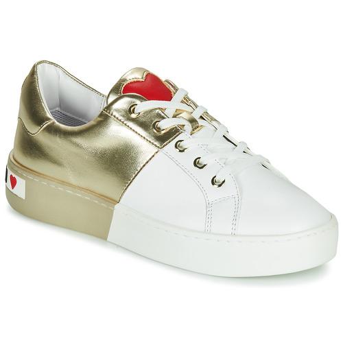 Chaussures Femme Baskets basses Love Moschino BI-COLOR SHOES Blanc / Doré