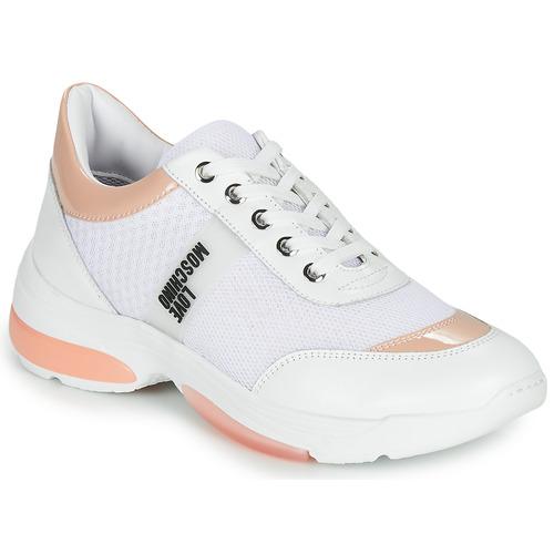 Chaussures Femme Baskets basses Love Moschino RUNNINLOVE Blanc / Rose