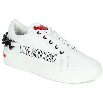 Chaussures Femme Baskets basses Love Moschino CHAIN HEART Blanc