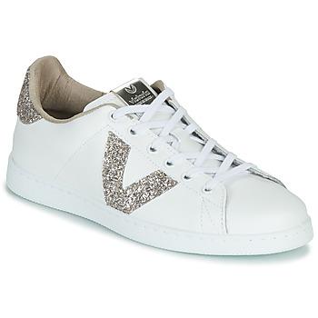 Chaussures Femme Baskets basses Victoria TENIS PIEL GLITTER Blanc / Rose