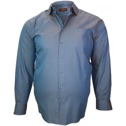 Vêtements Homme Chemises manches longues Doublissimo chemise tissu armure jacquard bleu Bleu