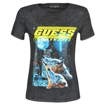 Vêtements Femme T-shirts manches courtes Guess SS CN NEON TEE Noir