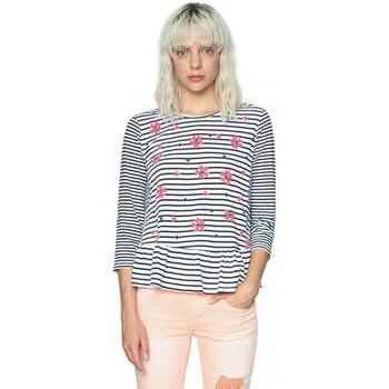 Vêtements Femme T-shirts manches longues Desigual T Shirt Symphony Blanc 18SWTKGP 1