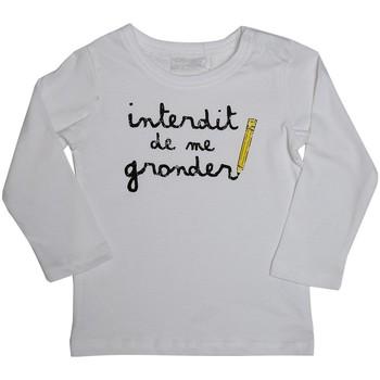 Vêtements Enfant T-shirts manches longues Interdit De Me Gronder L'ECOLIER Blanc