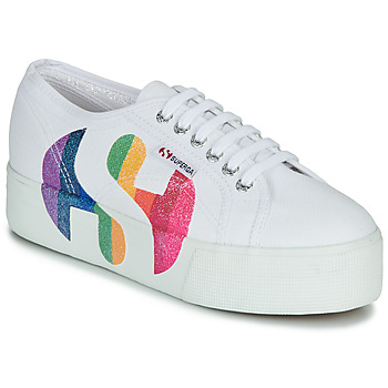 Chaussures Femme Baskets basses Superga 2790-COTWPRINTEDLOGOGLITTER Blanc
