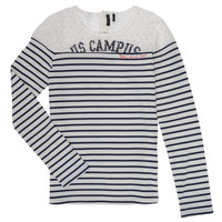 Vêtements Fille T-shirts manches longues Ikks DELLYSE Blanc / Noir
