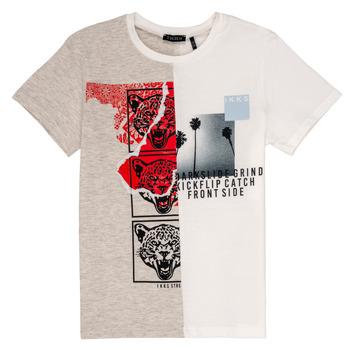 Vêtements Garçon T-shirts manches courtes Ikks RULIO Beige / Blanc