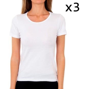 Sous-vêtements Femme Maillots de corps Abanderado Pack-3 t-shirt en coton sra m / c Blanc