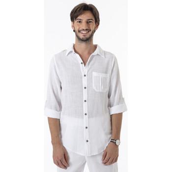 Vêtements Homme Chemises manches longues La Cotonniere CHEMISE ISAAC Blanc