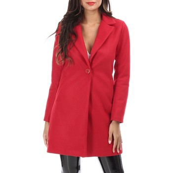 Vêtements Femme Manteaux La Modeuse Manteau rouge mi long à col revers Rouge