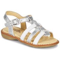 Chaussures Fille Sandales et Nu-pieds Citrouille et Compagnie GROUFLA Argenté / Blanc