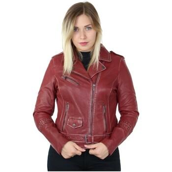 Vêtements Femme Vestes en cuir / synthétiques Daytona Blouson Rose Garden style perfecto en cuir ref_46981 Rouge rouge