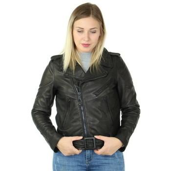 Vêtements Femme Vestes en cuir / synthétiques Schott Blouson style perfecto  en cuir agneau ref_47279 Noir noir