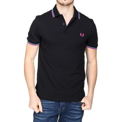 Vêtements Homme Polos manches courtes Fred Perry Polo logotypé Noir