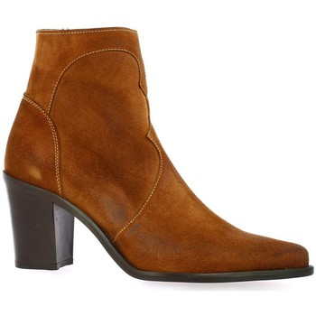 Chaussures Femme Boots Pao Boots cuir velours Cognac