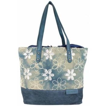Sacs Femme Sacs porté épaule Patrick Blanc Sac cabas épaule  toile délavée fleur bleu bleu