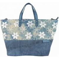 Sacs Femme Cabas / Sacs shopping Patrick Blanc Sac cabas XL  toile délavée fleur bleu bleu