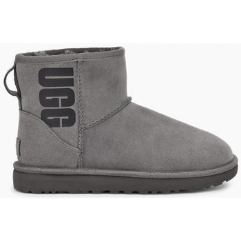 Chaussures Femme Bottines UGG Botte  CLASSIC MINI SHORT  RUBBER LOGO - 1108231-GREY GRIS