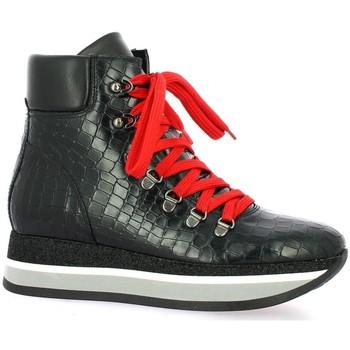 Chaussures Femme Baskets montantes Exit Baskets cuir serpent Noir