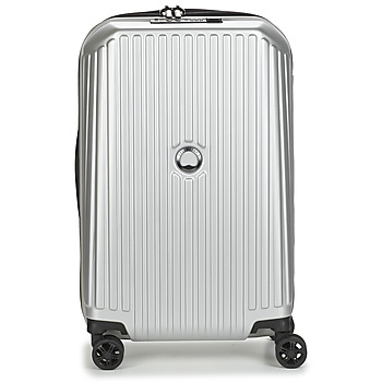Sacs Valises Rigides Delsey SECURITME ZIP 55 CM 4 DOUBLE WHEELS TROLLEY Argent